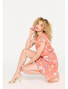 Korte jurk met bloemenprint Coral Emberglow