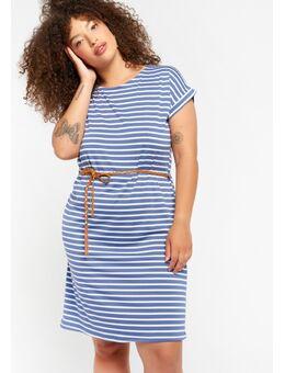 Halflange jurk met strepen en ceintuur Indigo Blue