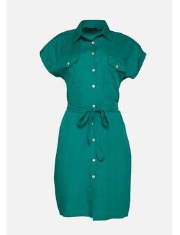 Overhemd jurk met ceintuur Green Tahiti