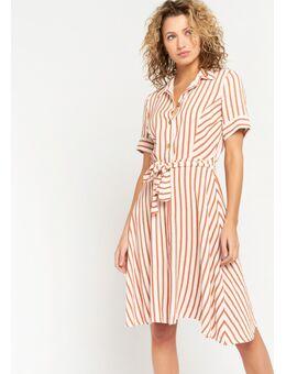 Overhemd jurk met strepen Terracotta