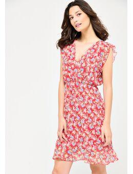 Halflange jurk met fijne bloemenprint Red Dhalia