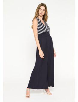 Tweedelige lange jurk met strepen Navy Blue