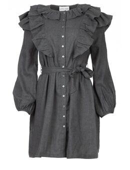 Katoenen jurk met ruches Lova grijs