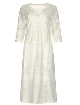 Midi jurk met borduursels Chelsea wit