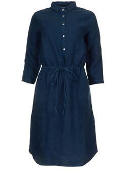 Linnen jurk met trekkoord Katja blauw