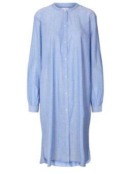 Katoenen overhemd jurk Basic blauw
