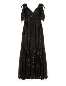 Pailetten maxi jurk Fanya zwart