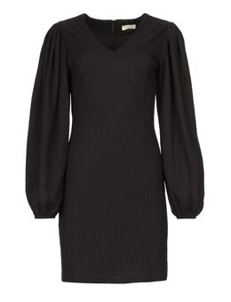 Crêpe jurk met pofmouwen Venus zwart