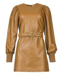 Faux leather jurk Ancilla camel