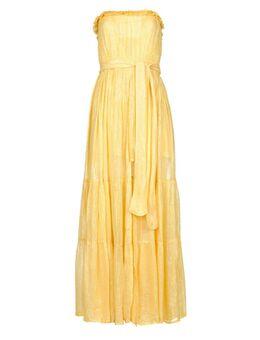 Strapless lurex jurk Jonquille geel