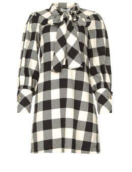 Geruite katoenen jurk met strikkraag Blimpit zwart
