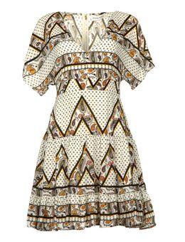 Print jurk Yebbibu wit