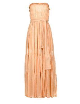 Strapless lurex jurk Jonquille nude