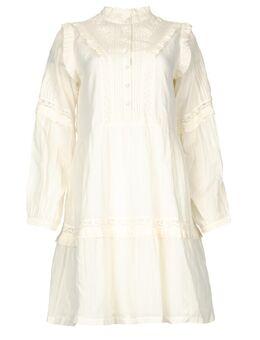 Broderie jurk met ruches Vivian wit