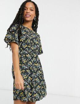 – Skater-Kleid mit Blumenmuster und Flügelärmeln-Mehrfarbig