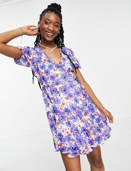 – Skater-Kleid mit Blumenmuster in Blau-Mehrfarbig