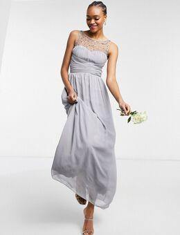 – Brautjungfern-Maxikkleid in Grau aus Chiffon mit Perlenverzierung