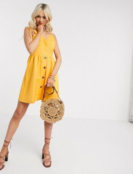 – Geknöpftes Sommerkleid in Gelb