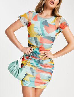 – Netz-Minikleid mit geometrischem Muster-Mehrfarbig