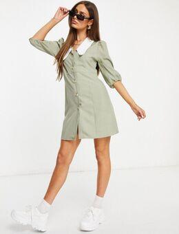 – Kleid mit Puffärmeln und Kragen in Salbeigrün