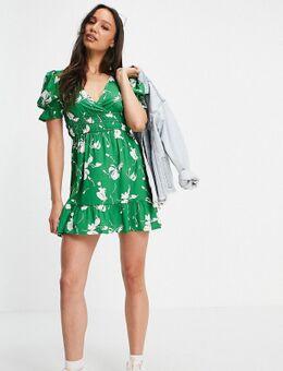 – Minikleid in Grün mit Blumendruck
