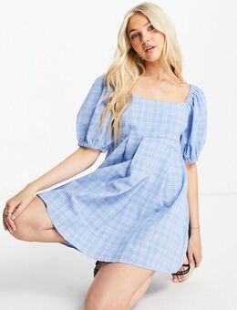 – Mini-Skater-Kleid mit Puffärmeln und Vichykaro-Blau