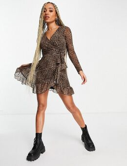 – Wickelkleid aus Netzstoff mit Leopardenmuster-Mehrfarbig