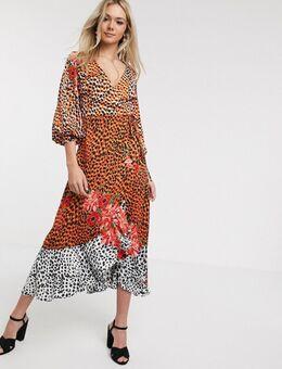– Wadenlanges Kleid aus Satin mit gewickelter Vorderseite und Tier- und Blumenmuster-Mehrfarbig