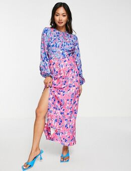– Gerafftes Midaxi-Kleid mit leuchtendem Punktemuster-Mehrfarbig