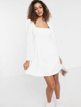 – Minikleid mit Puffärmeln und eckigem Ausschnitt in Elfenbein-Weiß