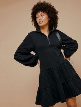 – Sweat-Kleid mit Schößchensaum in Schwarz