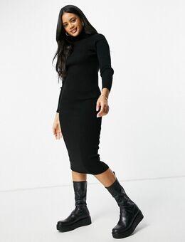 – Hochgeschlossenes, gestricktes Midi-Bodycon-Kleid in Schwarz