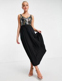 – Plissiertes Midaxi-Kleid mit buntem Paillettenbesatz-Mehrfarbig