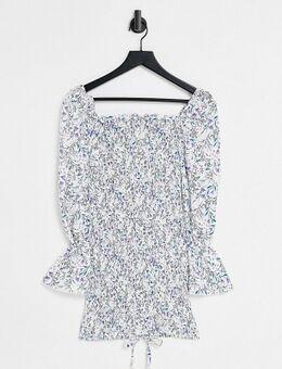 – Vorne gebundenes Bodycon-Kleid mit Blumenprint-Blau