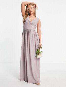 – Bridesmaid – Kleid aus Chiffon mit Wickeloberteil in Hellgrau