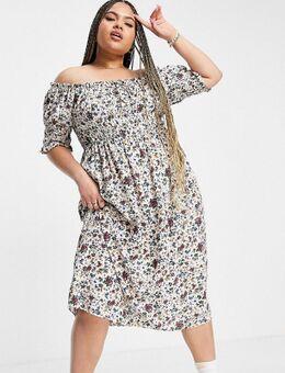 Lola May Plus– Kleid mit Blumenmuster und Puffärmeln-Weiß