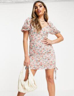 – Kleid mit seitlicher Raffung und Blumenprint-Mehrfarbig