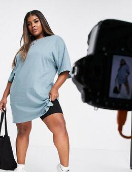 – Kurzes T-Shirt-Kleid in verwaschenem Blau