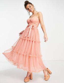 – Midaxi-Kleid mit herzförmigem Carmen-Ausschnitt in Pfirsich-Orange