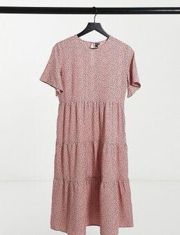 – Mittellanges, gerafftes Kleid mit Stufen und Punktemuster in Rosa-Mehrfarbig