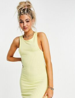 – Geripptes Kleid in Gelb