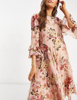 Maternity – Skater-Kleid mit Blumenmuster-Rosa