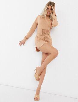 – Sweatshirt-Kleid mit Schnürung in Kamel-Braun