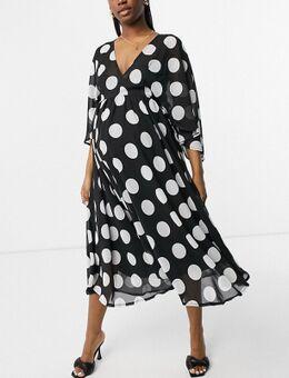 – Exklusives Midaxi-Kleid mit Trompetenärmeln und Punkteprint-Mehrfarbig
