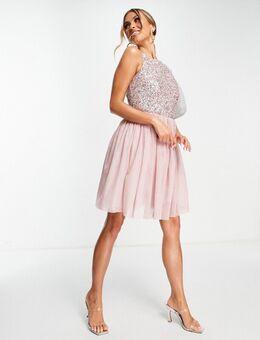 – Bridesmaid – Mit Pailletten verziertes Brautjungfern-Minikleid in Rosa