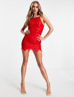 – Kleid aus Spitze mit Schößchensaum in Rot