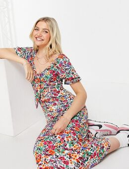 – Bunt geblümtes Midiaxi-Kleid mit 3/4-Ärmeln-Mehrfarbig