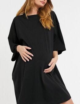 ASOS DESIGN Maternity – Oversize-T-Shirt-Kleid in Schwarz