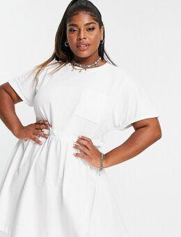 – Gesmoktes Mini-T-Shirt-Kleid mit Taschen in Weiß