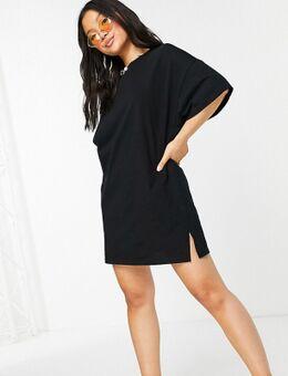 – Kurzes Oversize-T-Shirt-Kleid in Schwarz